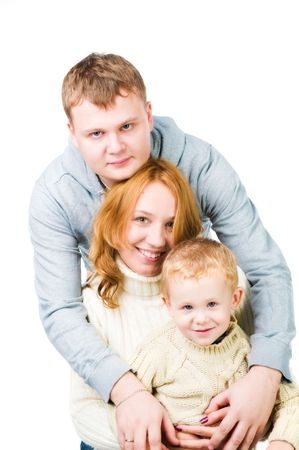 Portrait young family on white Stock Photo - 6876935