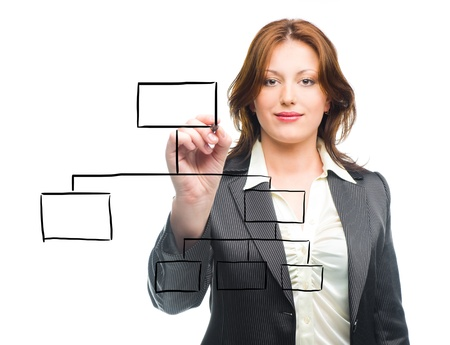 Business woman designing a plan on screen  Stock Photo - 8831112