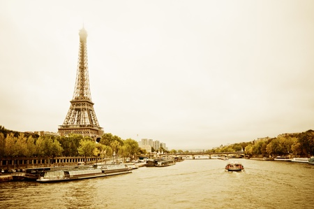 View of the Eiffel Tower and bridge Pont dléna from the Passerelle Debilly in Paris