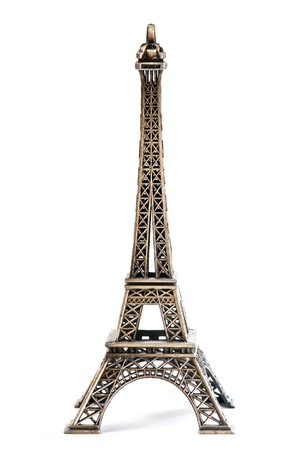 Eiffel Tower Statue, isolated on a white background  photo
