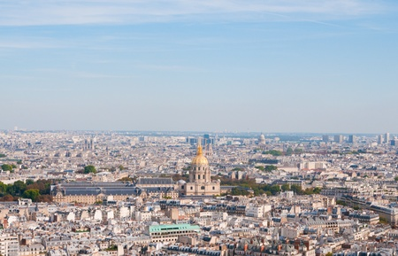 invalides: Les invalides - Aerial view of Paris.  Stock Photo