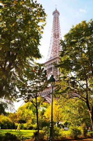 Vertical oriented image famous Eiffel Tower in Paris, France. photo