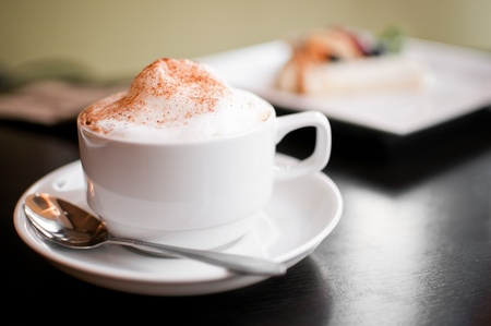 cappuccino: A cappuccino cup with milk foam and cinnamon