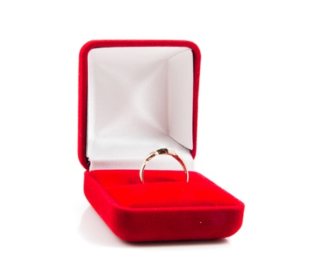 jewel case: wedding ring on white background