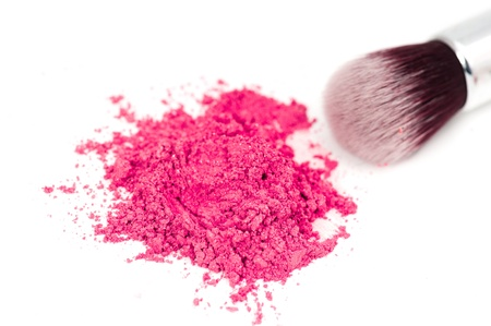 beauty make up: pink eye shadow on white background