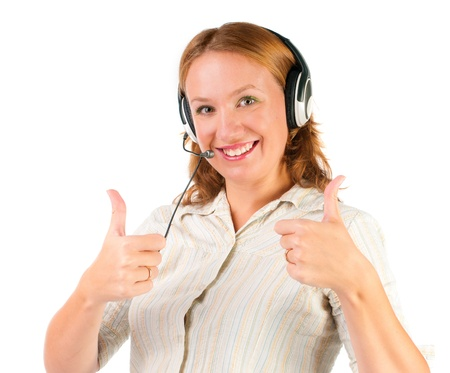 telemarketing: business customer support operator woman smiling - isolated  Stock Photo
