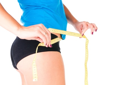 woman diet concept with measuring tape on white Stock Photo - 10064302
