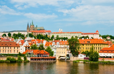 The View on summer Prague above River Vltava  photo