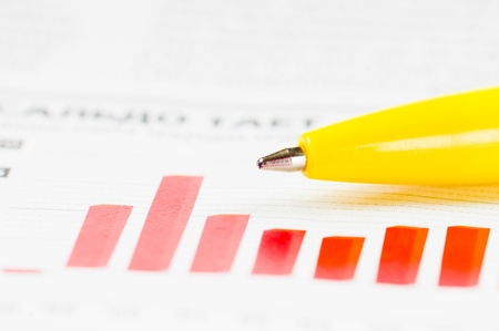 financial statement: Business concept: calculator, pen and diagram