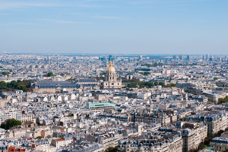 Les invalides - Aerial view of Paris from Eiffel Tower in Paris, France.  photo