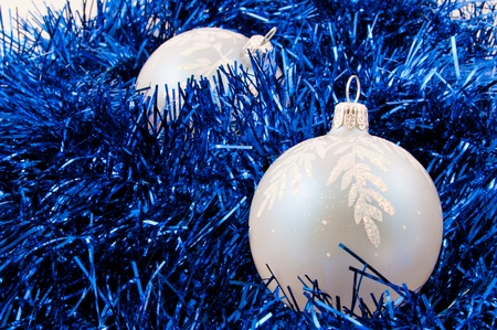trumpery: Christmas-tree decorations and blue tinsel