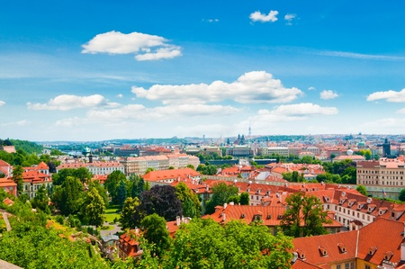 view of Prague city from hill  photo