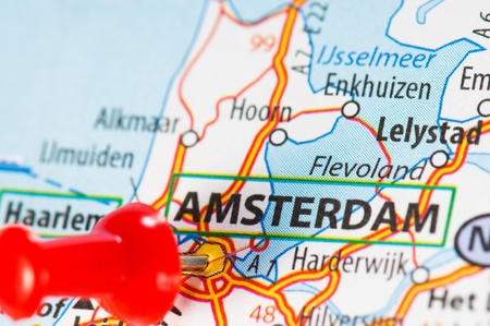 Amsterdam on a map Stock Photo - 11711488