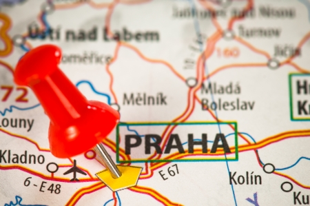 praha: Praha on a map Stock Photo