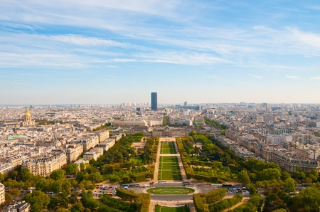 view from Eiffel tower on famous Champs de Mars  photo