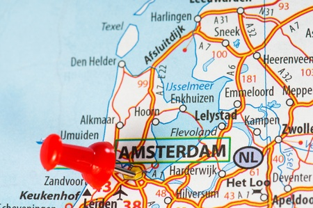 Amsterdam on a map Stock Photo - 12428489