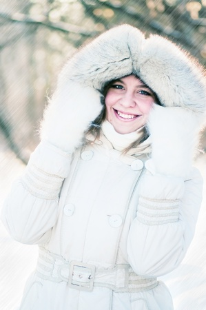 Young woman winter portrait. Shallow dof.  Stock Photo - 12913719