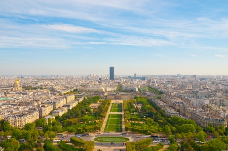 Aerial panoramic view of Paris and Seine river as seen from Eiffel Tower in Paris, France. Stock Photo - 14305522