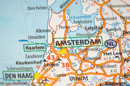 Amsterdam on a map Stock Photo - 14366231