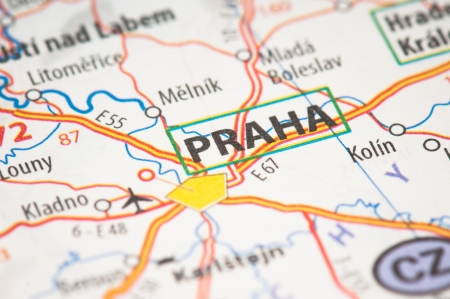 Praha on a map photo