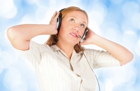 business customer support operator woman smiling - photo
