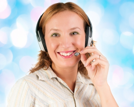 business customer support operator woman smiling  photo