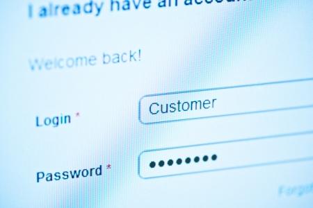 login - customer and password  Blue computer screen macro  Stock Photo - 14625980