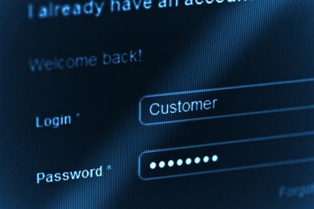 login - customer and password  Blue computer screen macro  Stock Photo - 14625970