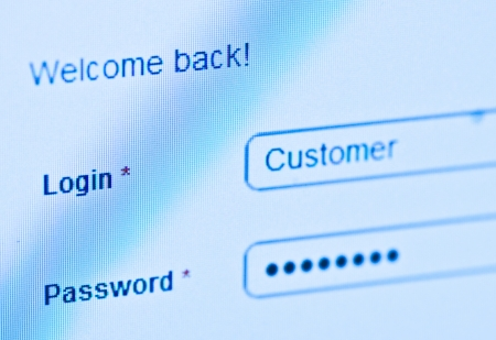 login - customer and password  Blue computer screen macro  Stock Photo - 14625976