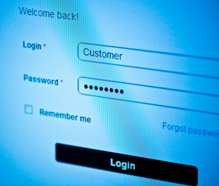 login - customer and password  Blue computer screen macro  Stock Photo - 14626034