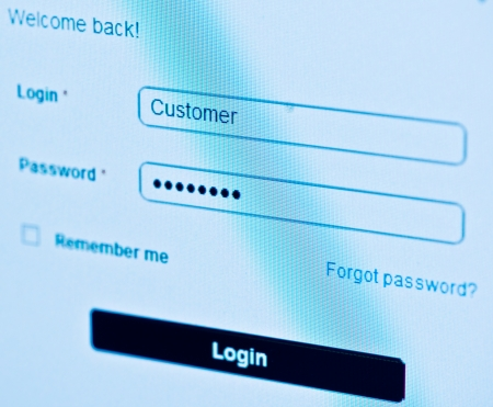 login - customer and password  Blue computer screen macro  Stock Photo - 14626041