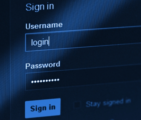 login  Blue computer screen macro  Stock Photo - 14625986