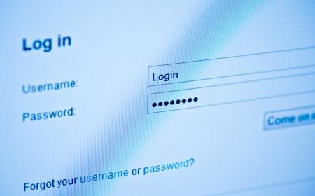 Username and password  Blue computer screen macro  photo