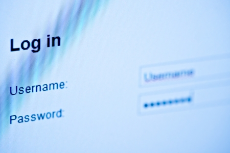 username: Username and password  Blue computer screen macro  Stock Photo