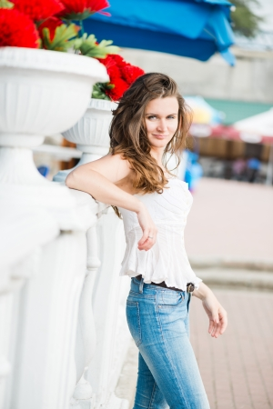 Portrait of a beautiful european woman smiling outdoors Stock Photo - 14626211