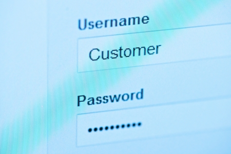 login - customer and password. Blue computer screen macro Stock Photo - 14776236