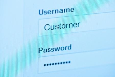 login - customer and password. Blue computer screen macro Stock Photo - 14776236