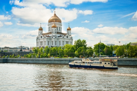 moskva river: Cathedral of Christ the Saviour near Moskva river, Moscow. Russia  Stock Photo