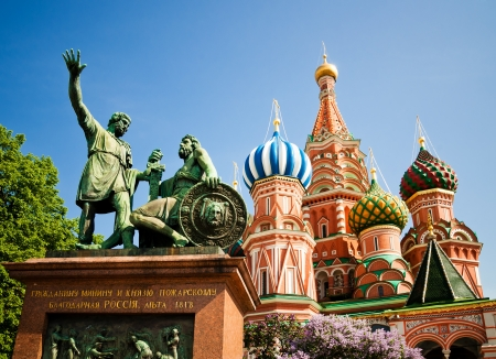 minin: The monument to Minin and Pozharsky and the most famous Russian Cathedral on the Red Square in Moscow  Editorial