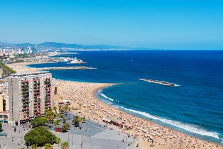 barcelona spain: Barceloneta beach in Barcelona, Spain  Editorial