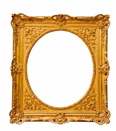 vintage gold  frame, isolated on white Stock Photo - 16536580