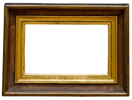 vintage gold  frame, isolated on white photo