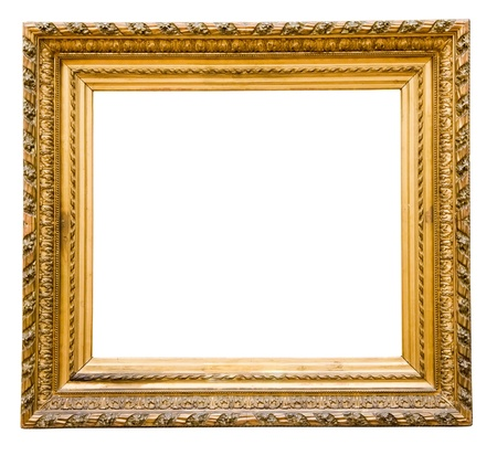 vintage gold  frame, isolated on white Stock Photo - 16536773