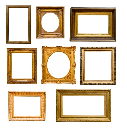 Set of vintage gold  frames, isolated on white Stock Photo - 16537321