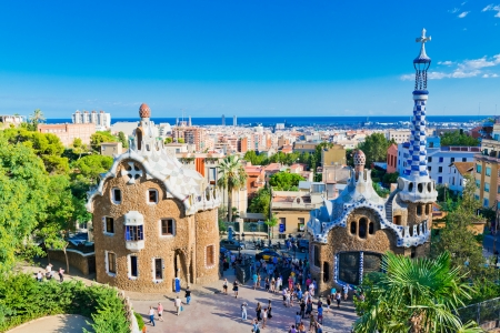 barcelona cathedral: Park Guell in Barcelona, Spain.