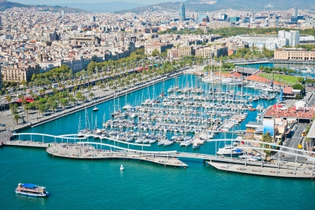 Aerial view of the Harbor district in Barcelona, Spain  photo