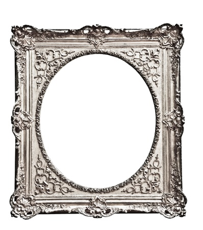vintage silver  frame, isolated on white Stock Photo - 17205872