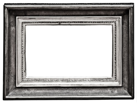 vintage silver  frame, isolated on white 写真素材