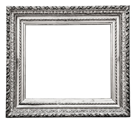 vintage silver  frame, isolated on white Stock Photo