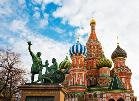 The monument to Minin and Pozharsky and the most famous Russian Cathedral on the Red Square in Moscow Stock Photo - 17206095